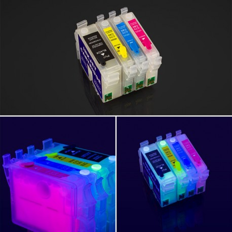 Epson cartridges T0321-T0324 filled with invisible UV ink