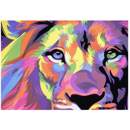 Blacklight poster Lion Colorfull print glow at blacklight art wall fluorescent